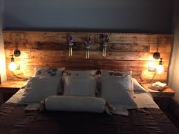 pallet headboard with lights bedroom design ideas pinterest