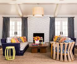 painting brick fireplace for a mediterranean living room with a
