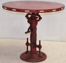 round cast iron table indian furniture industrial metal crank table height adjustable