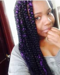 grey and purple combined together style box breads 110 my jumbo box braids with purple highlight protective style