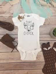unisex baby shower stay clever fox onesie unisex baby clothes baby clothes