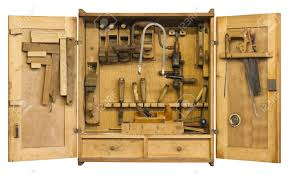 Cabinet Tools Old Historic Tool Cabinet Filled Woth Woodworking Tools Frontal
