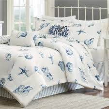 themed duvet cover white themed bedding comforter set with blue shells and