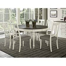 Black And White Dining Room Sets Amazon Com East West Furniture Avat7 Blk W 7 Piece Dining Table