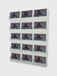 15 pocket business card holder clear acrylic horizontal wall mount