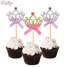 in cake toppers fengrise 10 pieces crown cake toppers 1st birthday decoration kids