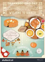 thanksgiving dinner menu card roast turkey stock vector 747159271