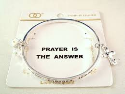 bangle bracelet charm silver images Prayer is the answer quot inspirational stretching bangle bracelet jpg