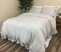 ruffled pinstripe duvet cover in grey and white natural linen