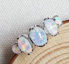 opal stones rings images Nice white fire opal stone ring jewelry for lady usa size 7 8 9 in jpg