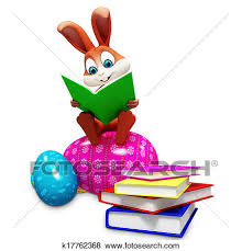 easter bunny books stock illustration of easter bunny with books and eggs k17762368