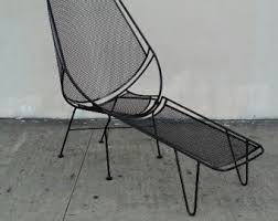 Wrought Iron Lounge Chair Patio Regency Chairs Vintage Black Lacquered Tripodal