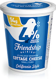 Nutrition Facts For Cottage Cheese by 1 Lowfat Whipped Cottage Cheese Friendship Dairies