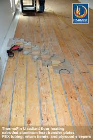 In Floor Heating Under Laminate Thermofin U Radiant Heat Transfer Plates Are Shown Installed On