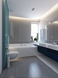 from the vibrant blue secondary bathroom with light blue glass