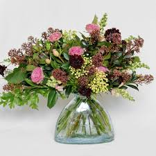 A Flower Vase November Garden Bouquet Oak Leaf Arrangement