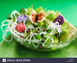 Salad With Edible Flowers - spring salad with figs romanesco broccoli u0026 edible flowers stock