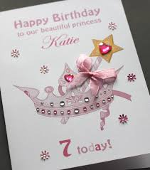 a5 handmade personalised princess crown birthday card daughter