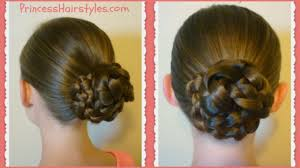 put your hair in a bun with braids easy triple braid bun back to school basic hairstyles youtube