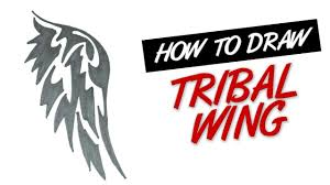 how to draw wing tribal design 1