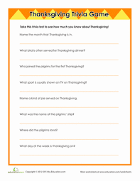 thanksgiving trivia worksheet education