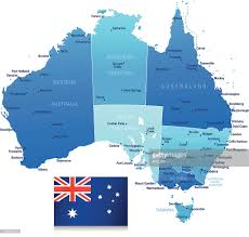map of australia with cities and states map of australia states cities and flag vector getty images