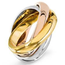 color wedding rings images Shop stainless steel polished tri color intertwined wedding band jpg