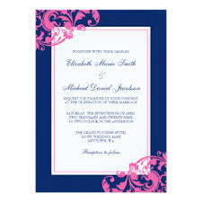Navy Blue Wedding Invitations Navy And Pink Wedding Invitations U0026 Announcements Zazzle