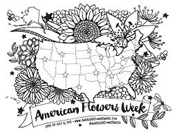 Usa Map Black And White by Floral Map Of Usa American Flowers Week