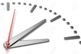 simple clock face with metal hour and minute hands and red second
