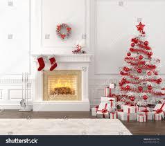 christmas fireplace christmas tree snow scene with crackling