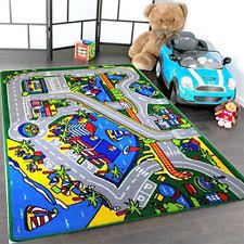 kids street map rug 5 x 7 race track children area road cars