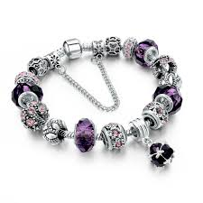 pandora style silver charm bracelet images Beautiful silver plated bracelet pandora style purple charms 20 cm jpg