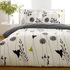 black and white girls bedding sophisticated teen duvet cover cotton material asian lily pattern