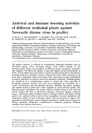 Plant Disease Journal - antiviral and immune boosting activities of different medicinal