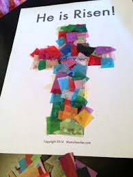 easter tissue paper cross craft activity for kids mama teaches