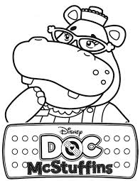 hallie the hippo of doc mcstuffins coloring page netart
