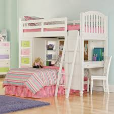 furniture white wooden loft bed with staircase and desk also