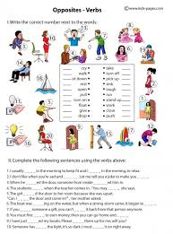opposite verbs worksheets 6 to be popular private tutor