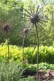 Metal Garden Flowers Outdoor Decor Seed Head Giant Steel Metal Seed Heads Garden Yard Statues