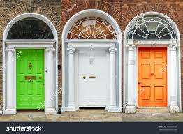 Green White Orange Flag Doors Dublin Green White Orange Irish Stock Photo 700855558