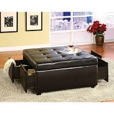 Faux Leather Ottoman Shop Furniture Of America Petula Casual Espresso Faux Leather