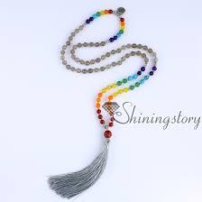 spiritual jewelry chakra necklace 108 buddhist prayer mala seven chakra