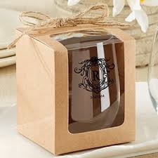 wine glass gift kraft stemless wine glass gift box set of 12 brown wedding