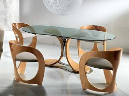 Oval Wooden Glass Dining Table Amazing Round Glass Dinning Table And Modern Chair Design