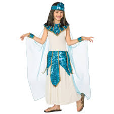 girls cleopatra blue gold halloween costume