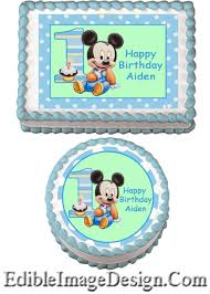 baby mickey 1st edible party birthday cake image cupcake topper