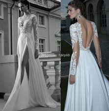 wedding dress wholesalers discount a line v neck side slit backless wedding dress