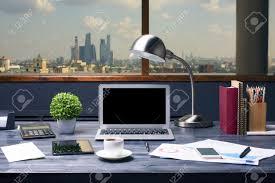 desktop table design creative designer desktop with blank laptop computer table lamp