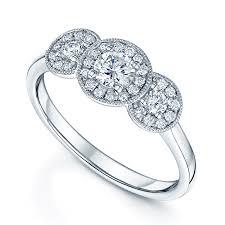 halo design rings images Berry 39 s 18ct white gold vintage design three stone diamond halo ring jpg